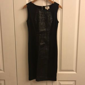 Mixed material black bodycon dress / Size 4
